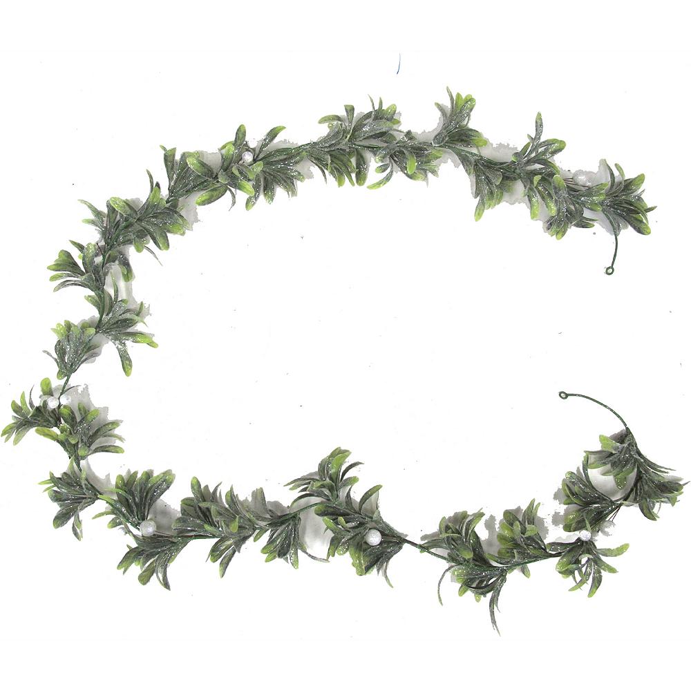 Green & White Mistletoe Garland Image #1