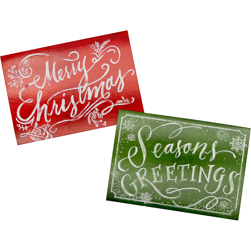 Glitter Green & Red Holiday Cards 16ct Image #1