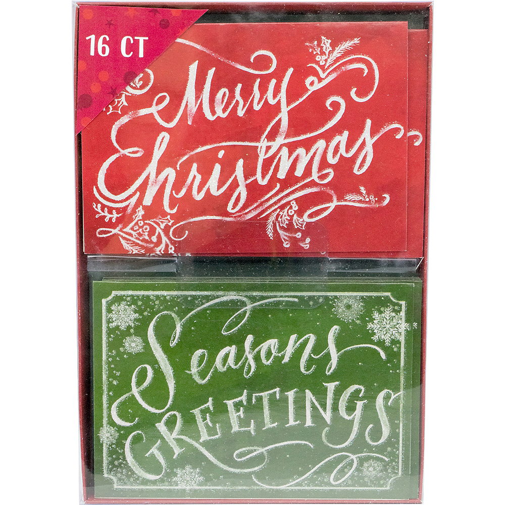 Glitter Green & Red Holiday Cards 16ct Image #2