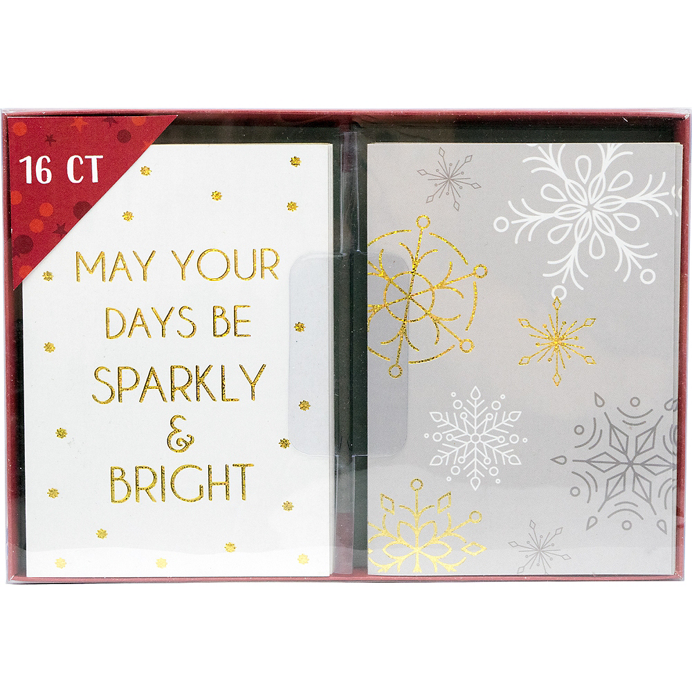 Glitter Snowflakes & Sparkles Holiday Cards 16ct Image #2