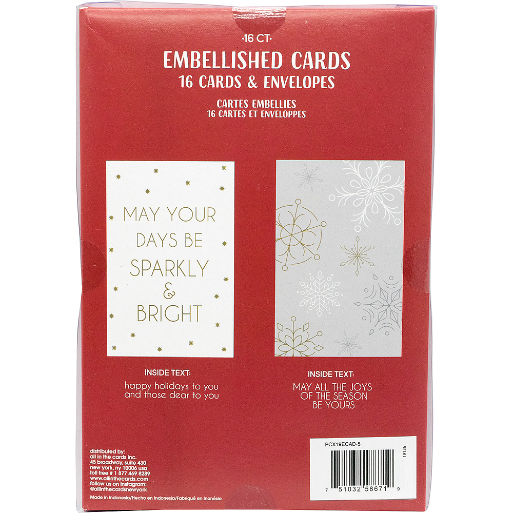 Glitter Snowflakes & Sparkles Holiday Cards 16ct Image #3