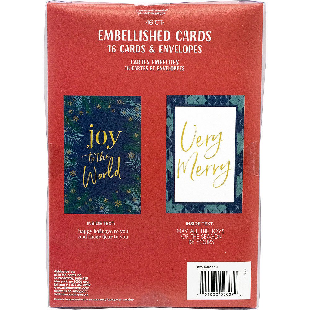 Glitter Joy & Merry Holiday Cards 16ct Image #3