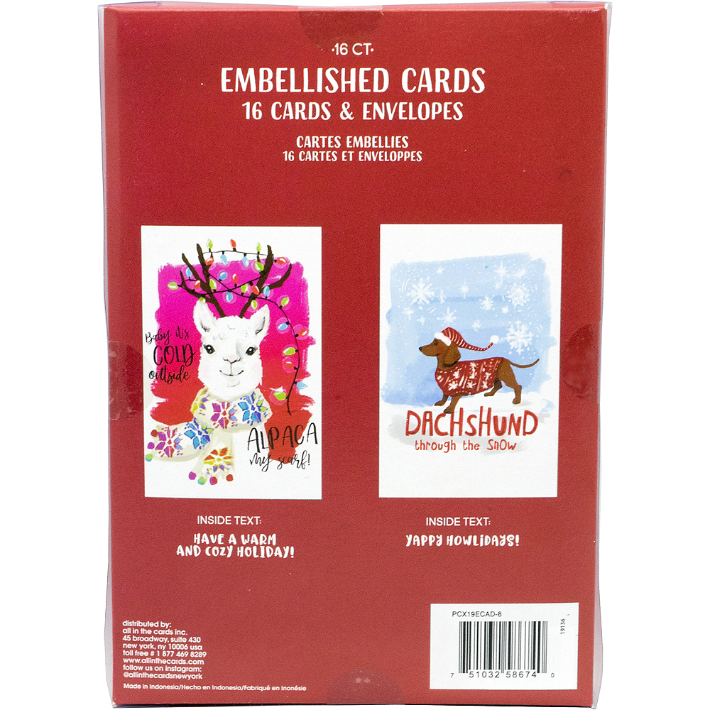 Alpaca & Dachshund Holiday Cards 16ct Image #3