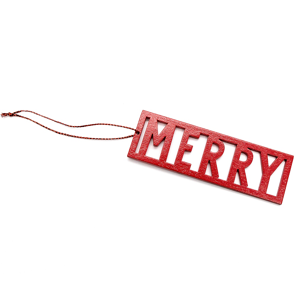 Red Merry Wood Gift Tag Image #1