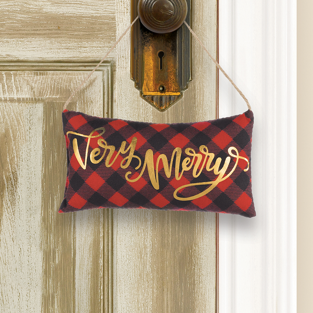 Mini Very Merry Pillow Sign 6in X 3 1 4in Party City