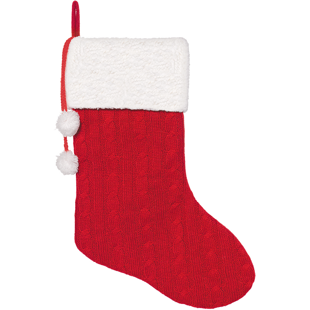 Cable Knit Christmas Stockings.Red Cable Knit Christmas Stocking