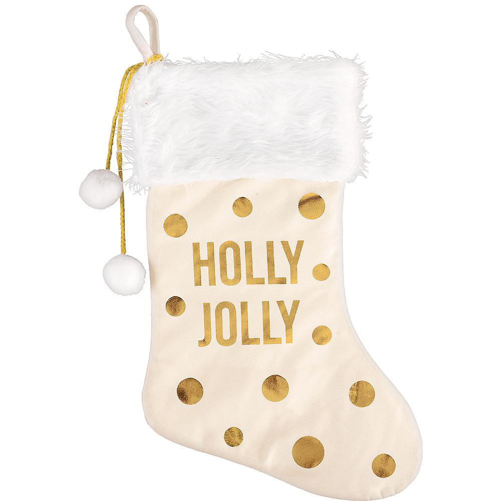 Cream & Gold Holly Jolly Christmas Stocking Image #1