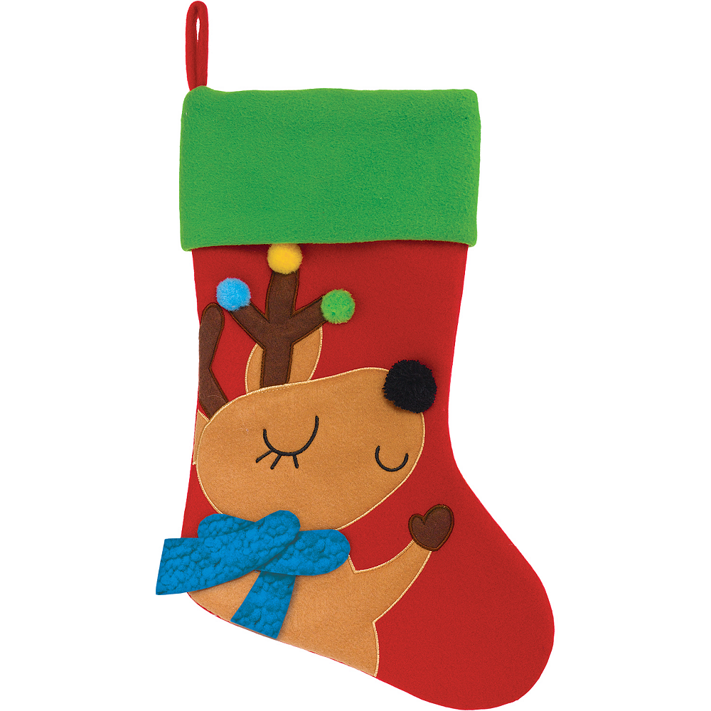 Reindeer Christmas Stocking 18in Party City