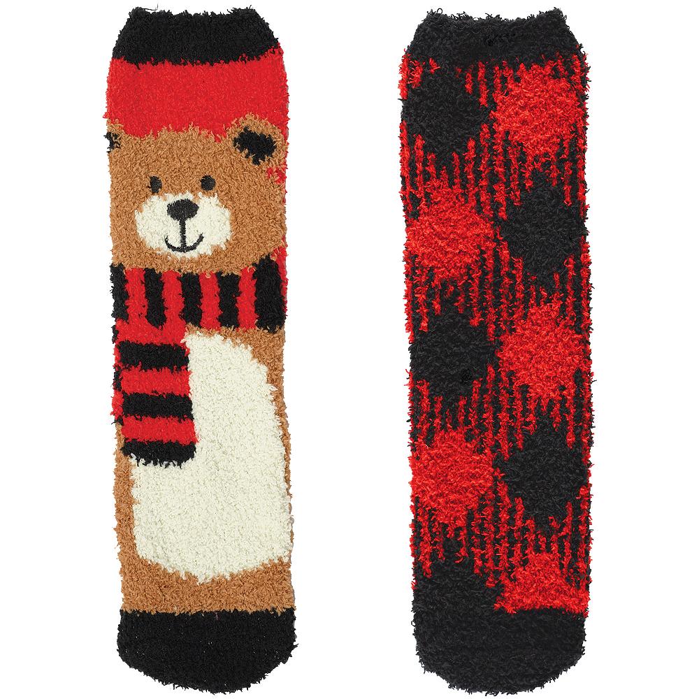Adult Bear & Plaid Fuzzy Socks 2ct Image #1