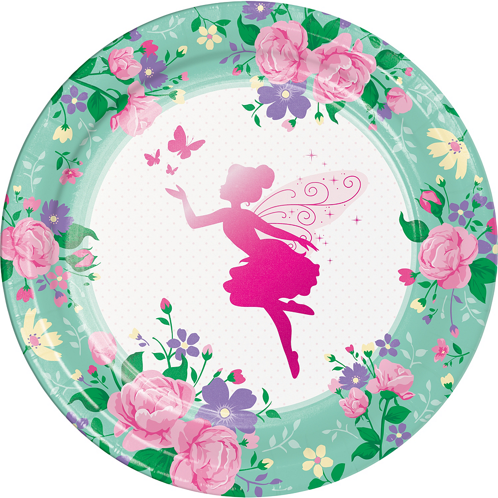 Floral Fairy Lunch Plates 8ct Image #1