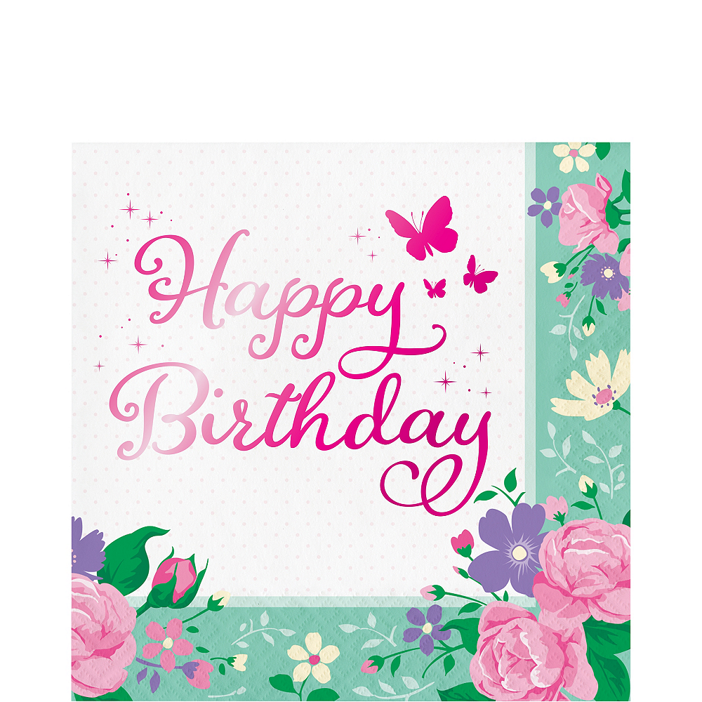 Floral Fairy Happy Birthday Lunch Napkins 16ct Image #1