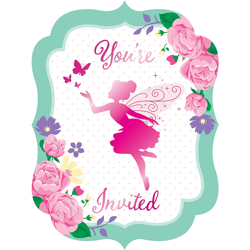 Floral Fairy Invitations 8ct Image #1