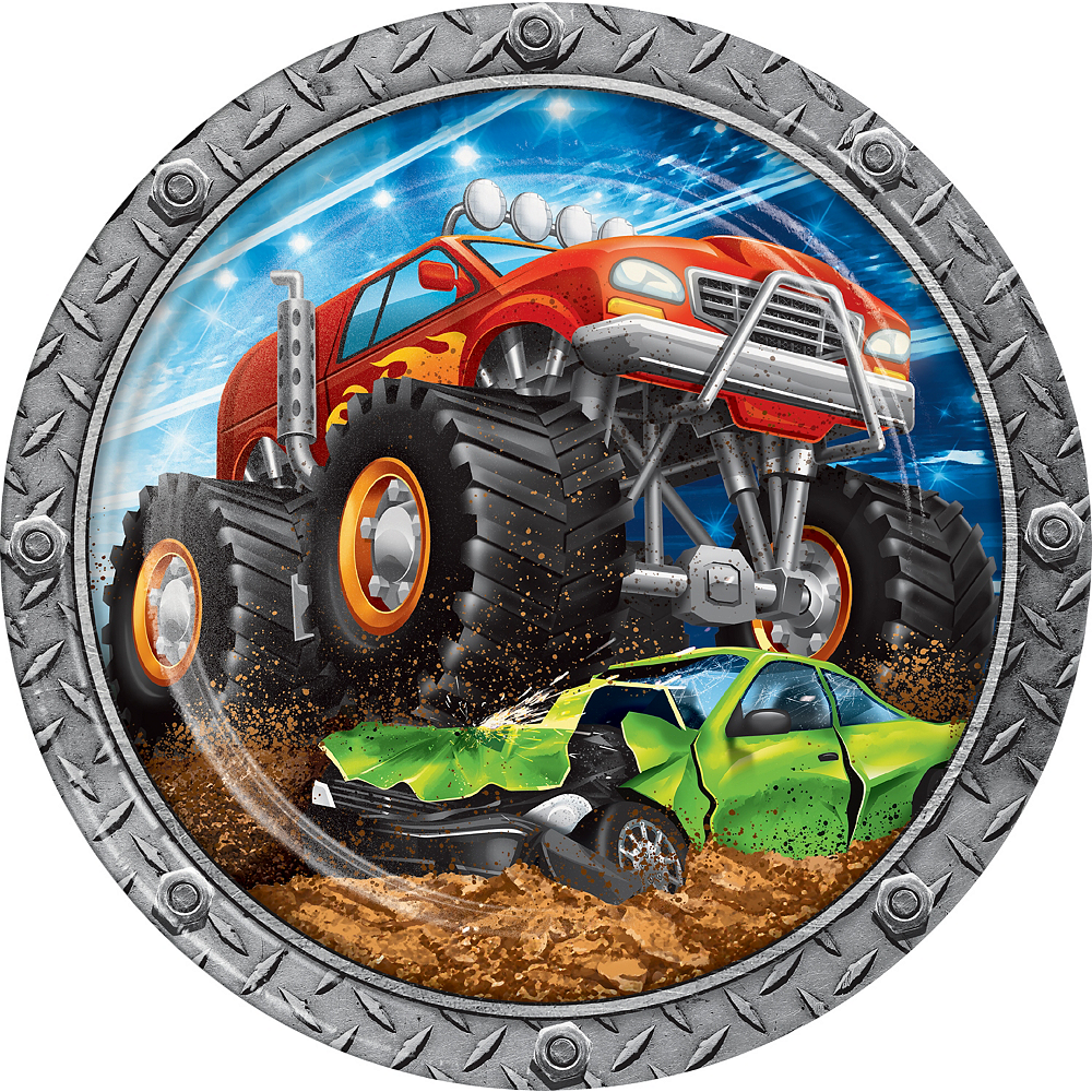 Monster Truck Lunch Plates 8ct Image #1
