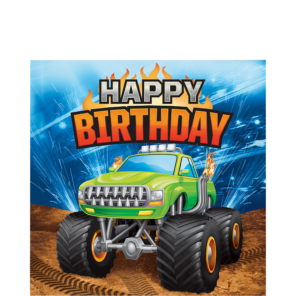 Monster Truck Happy Birthday Lunch Napkins 16ct Party City