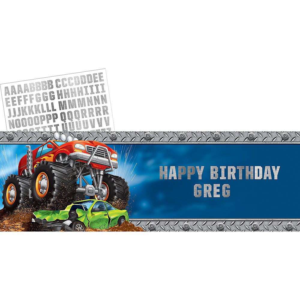 Giant Monster Truck Personalized Banner Kit 6 3/4ft X 20in