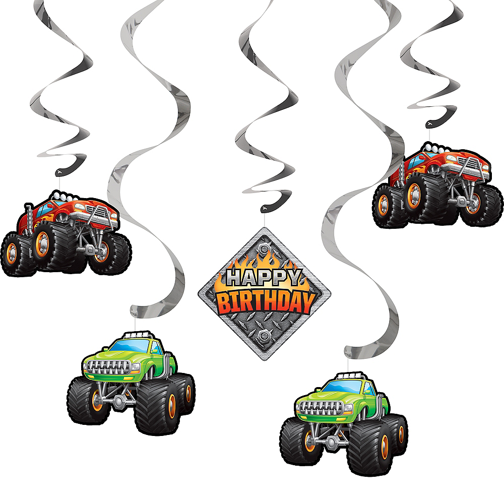Monster Truck Swirl Decorations 5ct Party City