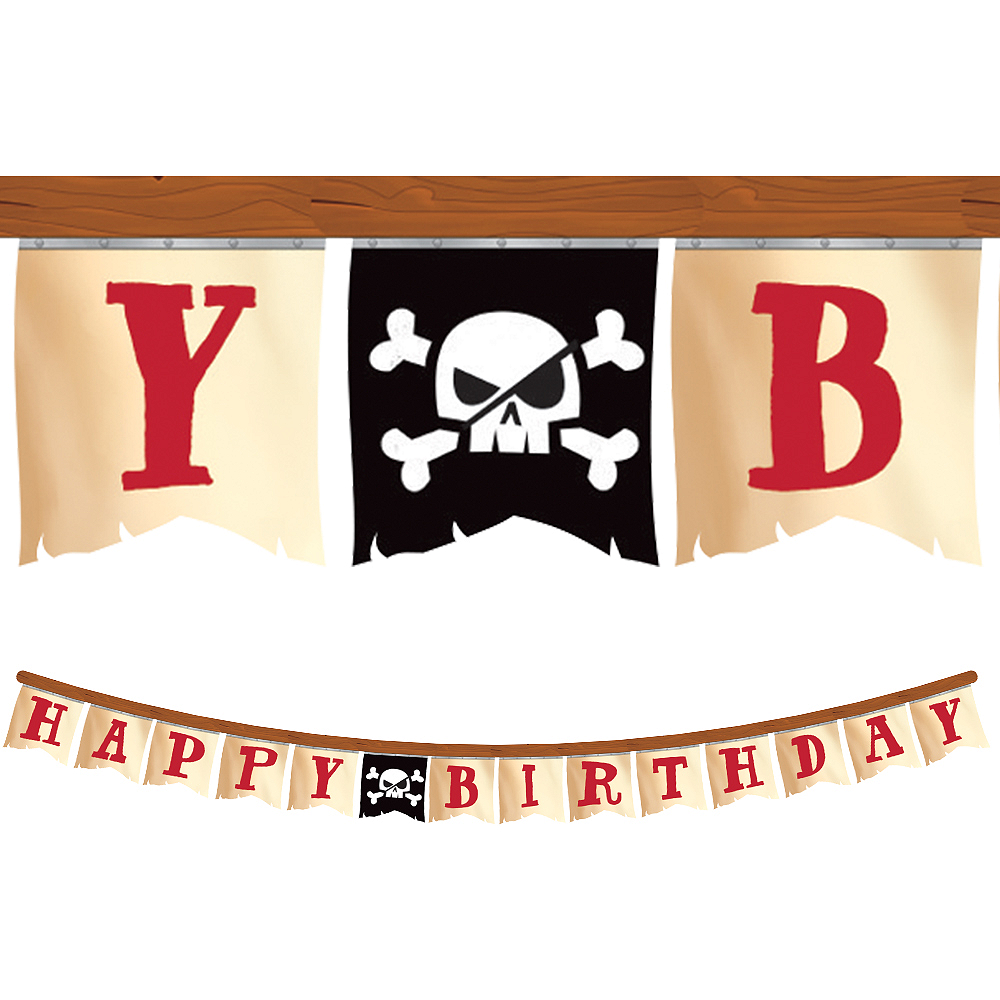 Treasure Island Pirate Birthday Pennant Banner Image #1
