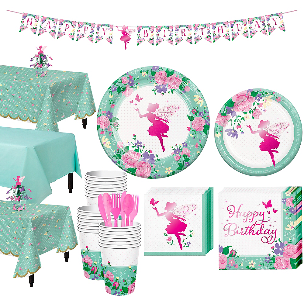 Floral Fairy Tableware Kit for 24 Guests Image #1