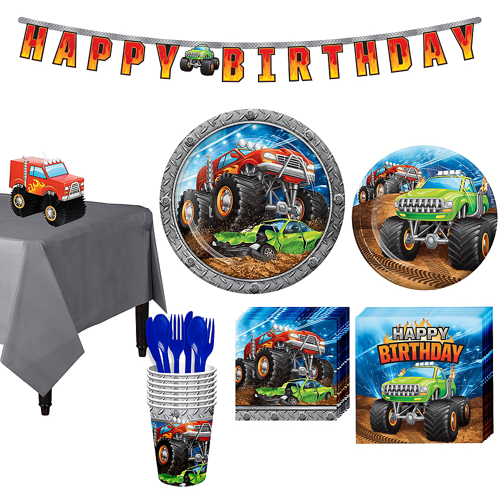 Monster Truck Tableware Kit for 8 Guests Image #1