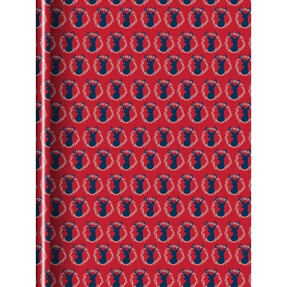 Navy Blue & Red Reindeer Gift Wrap Image #1