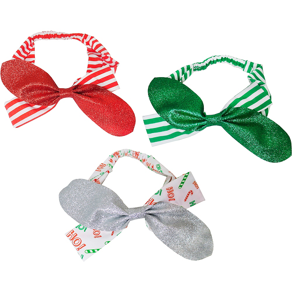 Glitter Christmas Bow Headbands 3ct Image #1