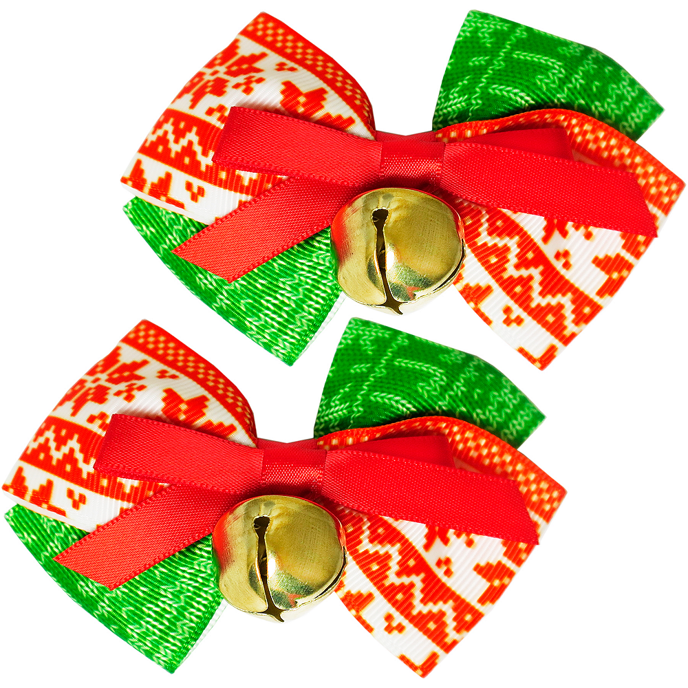 Nav Item for Jingle Bell Hair Bows 2ct Image #1