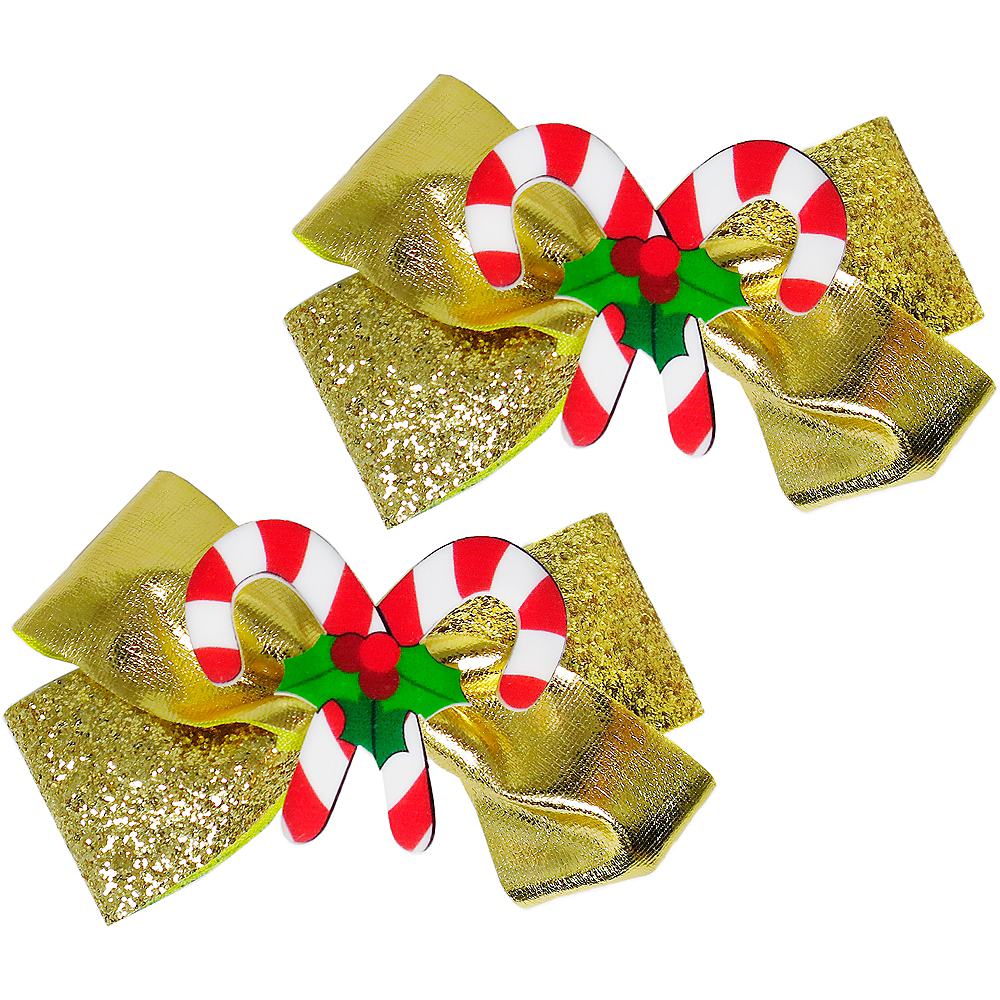 Gold Glitter Candy Cane Hair Bows 2ct Image #1