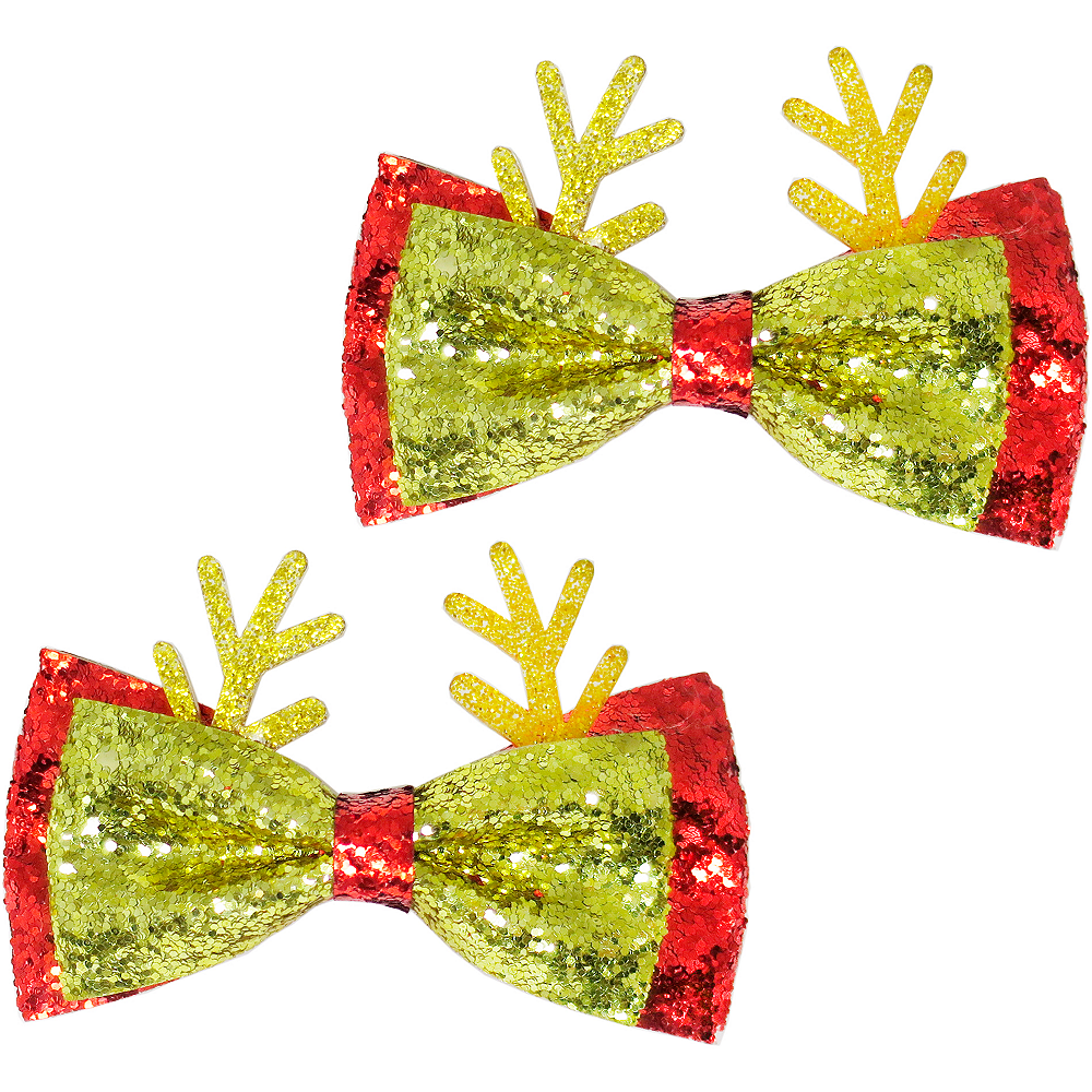 Gold Glitter Reindeer Hair Bows 2ct Image #1
