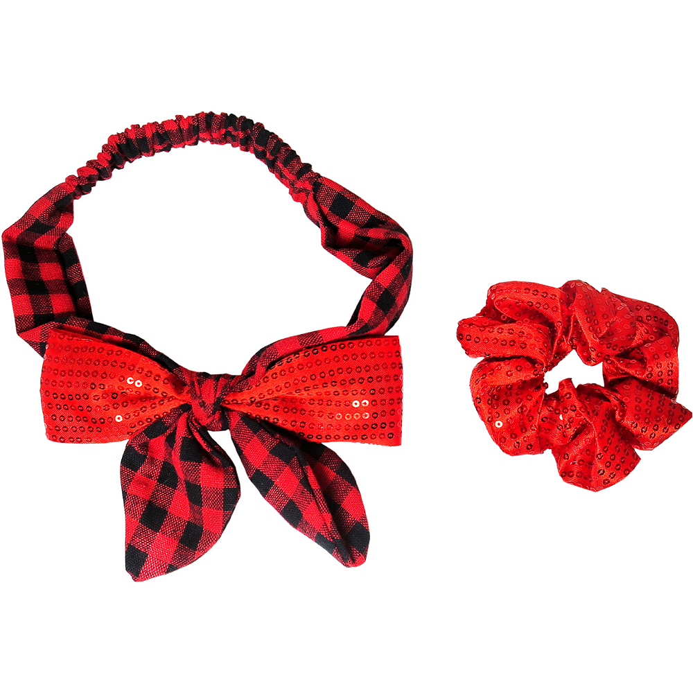 Red Sequin Hair Accessory Set 2pc Image #1