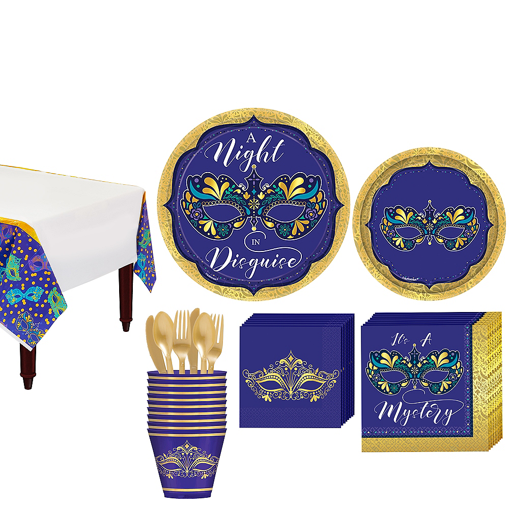 A Night In Disguise Masquerade Tableware Kit for 8 Guests Image #1