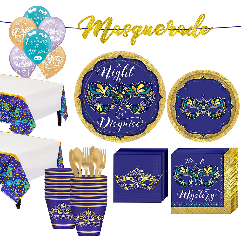 Super A Night In Disguise Masquerade Tableware Kit for 32 Guests Image #1