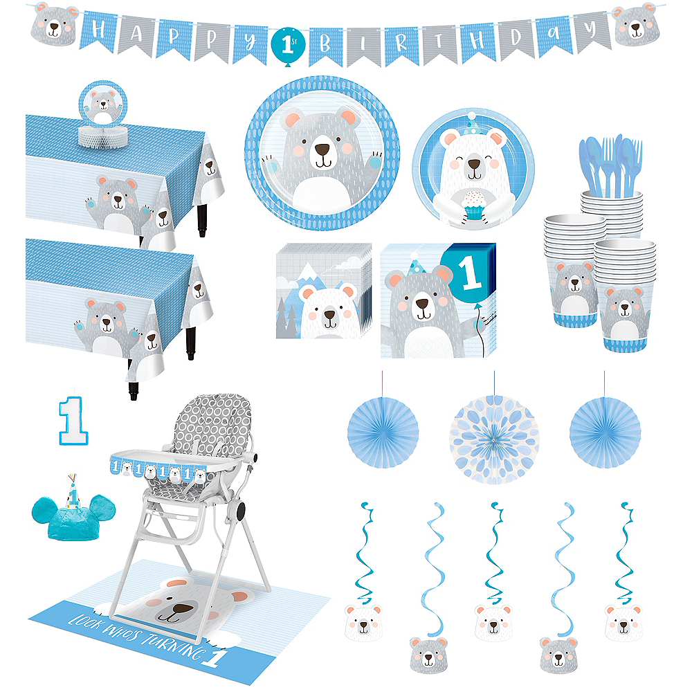 Ultimate Beary Cute 1st Birthday Party Kit for 32 Guests Image #1