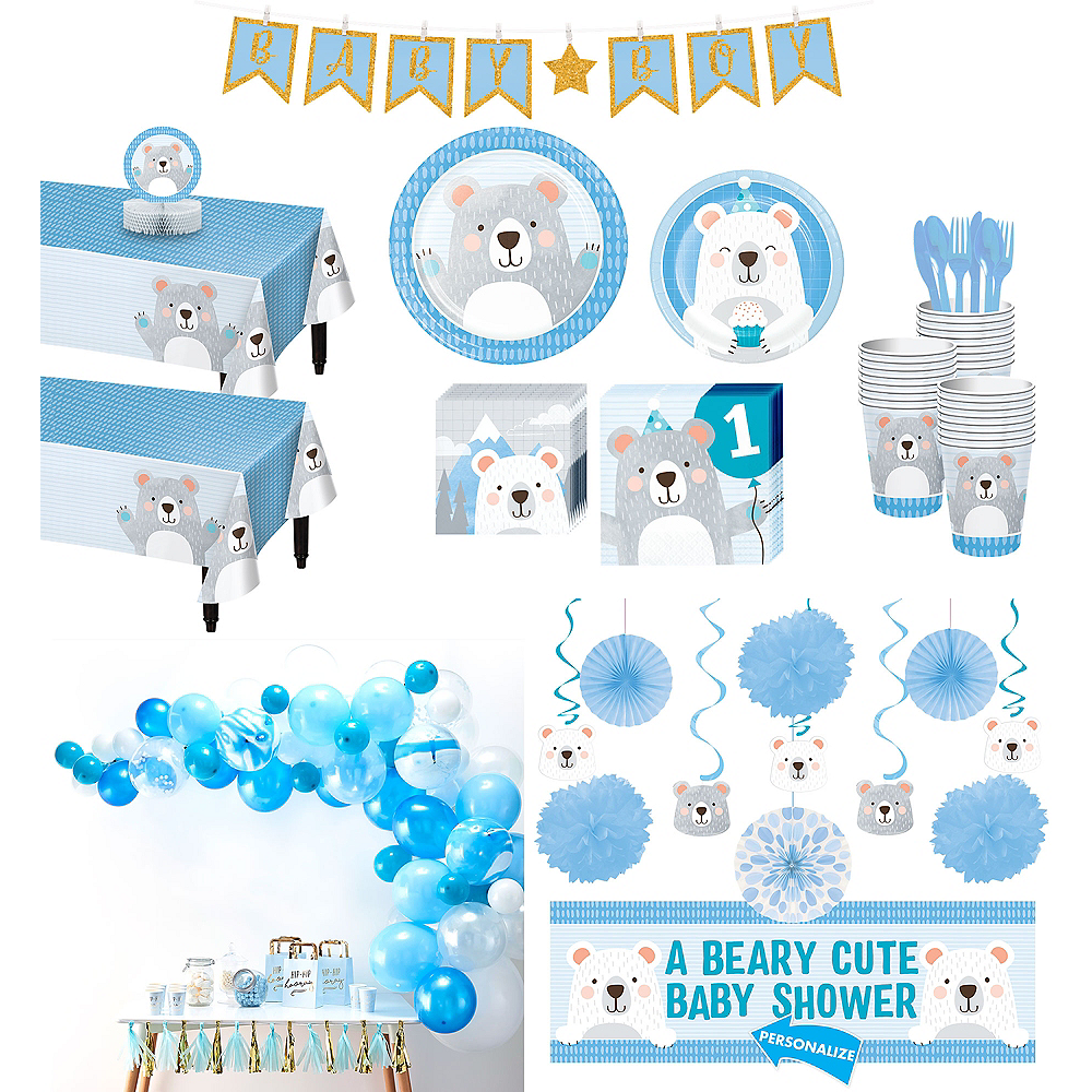 Ultimate Beary Cute Baby Shower Party Kit for 32 Guests Image #1