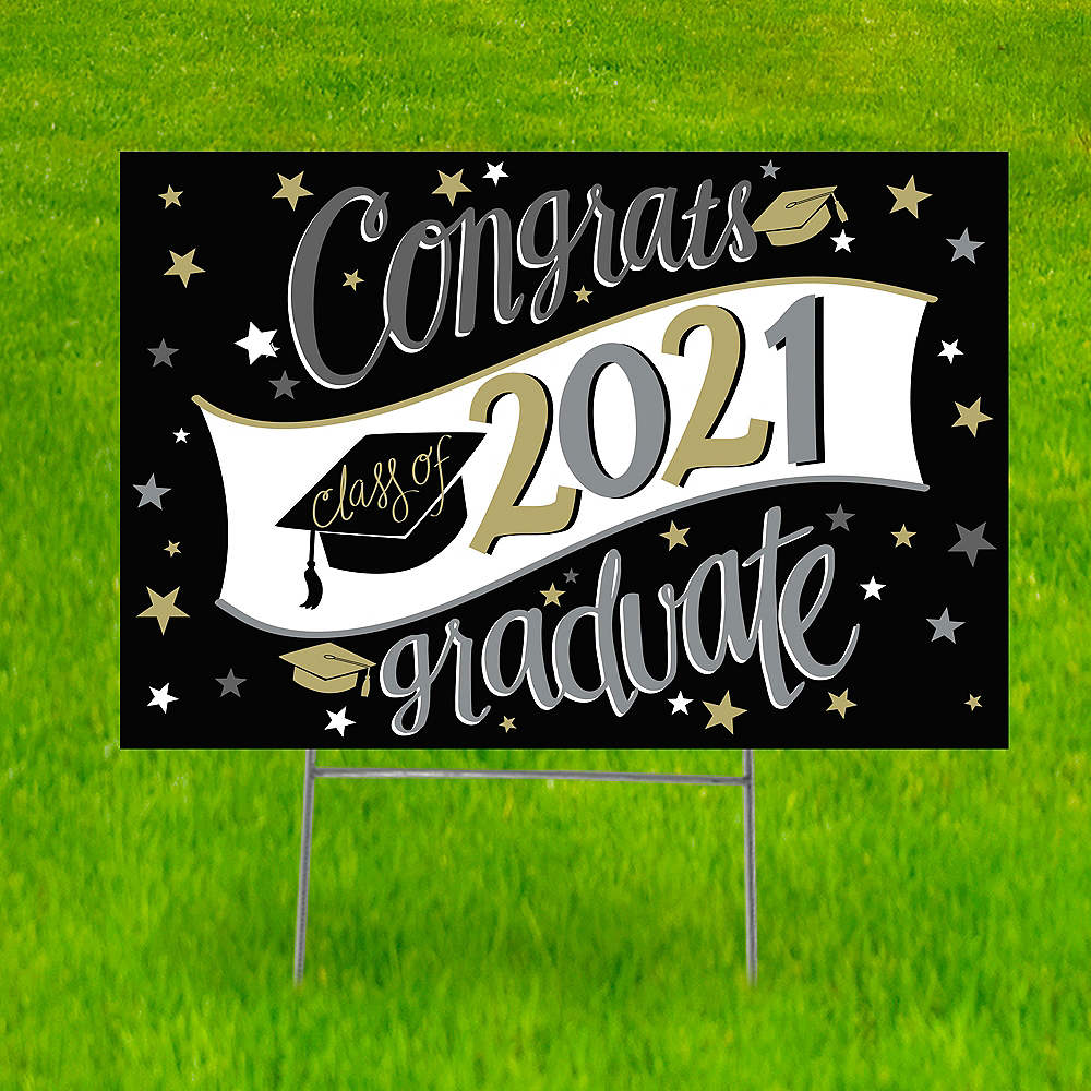 Black, Gold & Silver Graduation Yard Sign, 22in x 15in Image #1