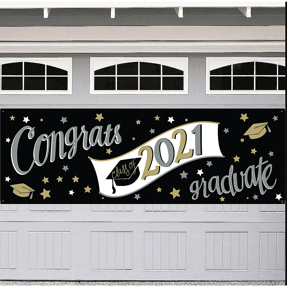 Black, Silver & Gold Graduation Outdoor Banner, 6ft x 2ft Image #1