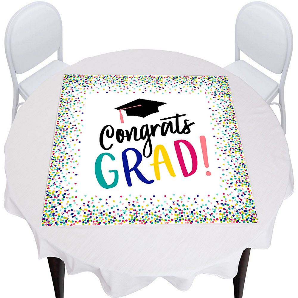 Yay Grad Graduation Square Vinyl Table Topper Image #1