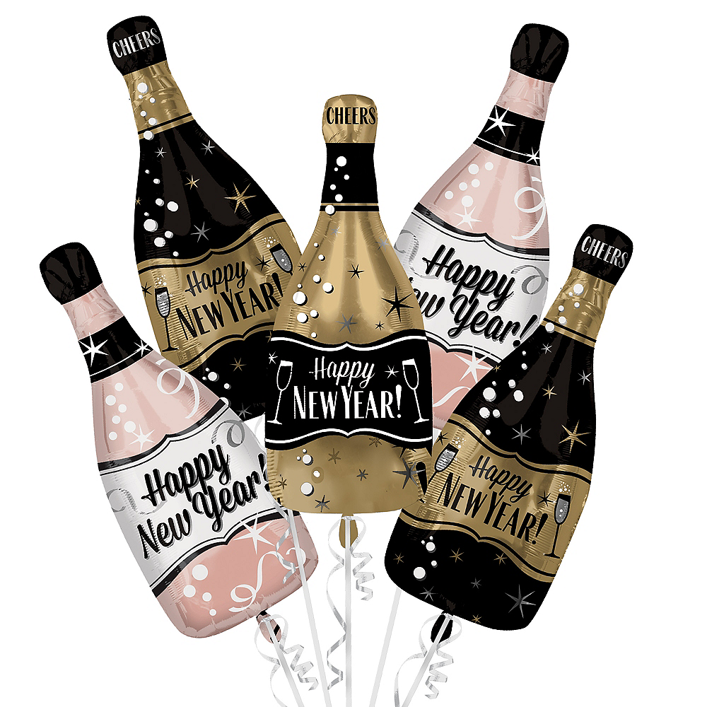 Bubbly Bottles New Year's Eve Balloon Bouquet 5pc Image #1