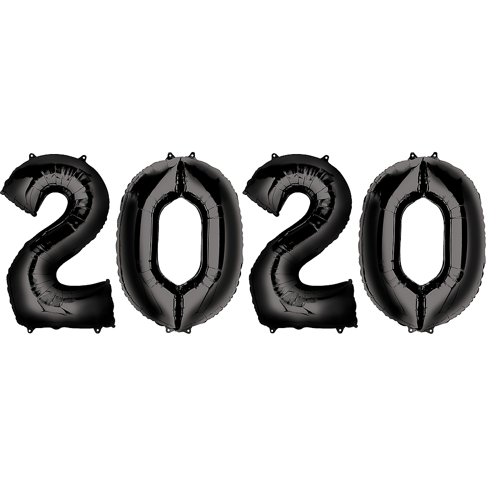 Giant Black 2020 Balloons, 34in, 4pc Image #1
