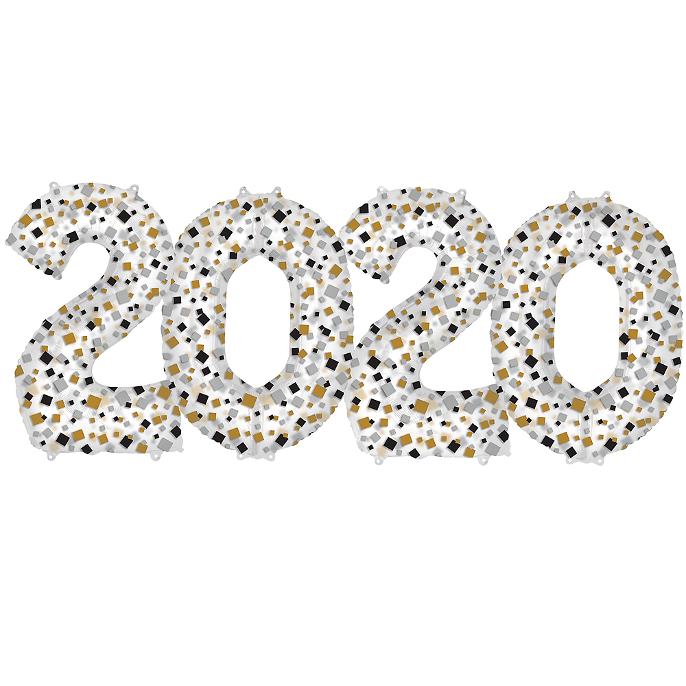 34in Black, Clear, Gold & Silver 2020 Number Balloons 4pc Image #1