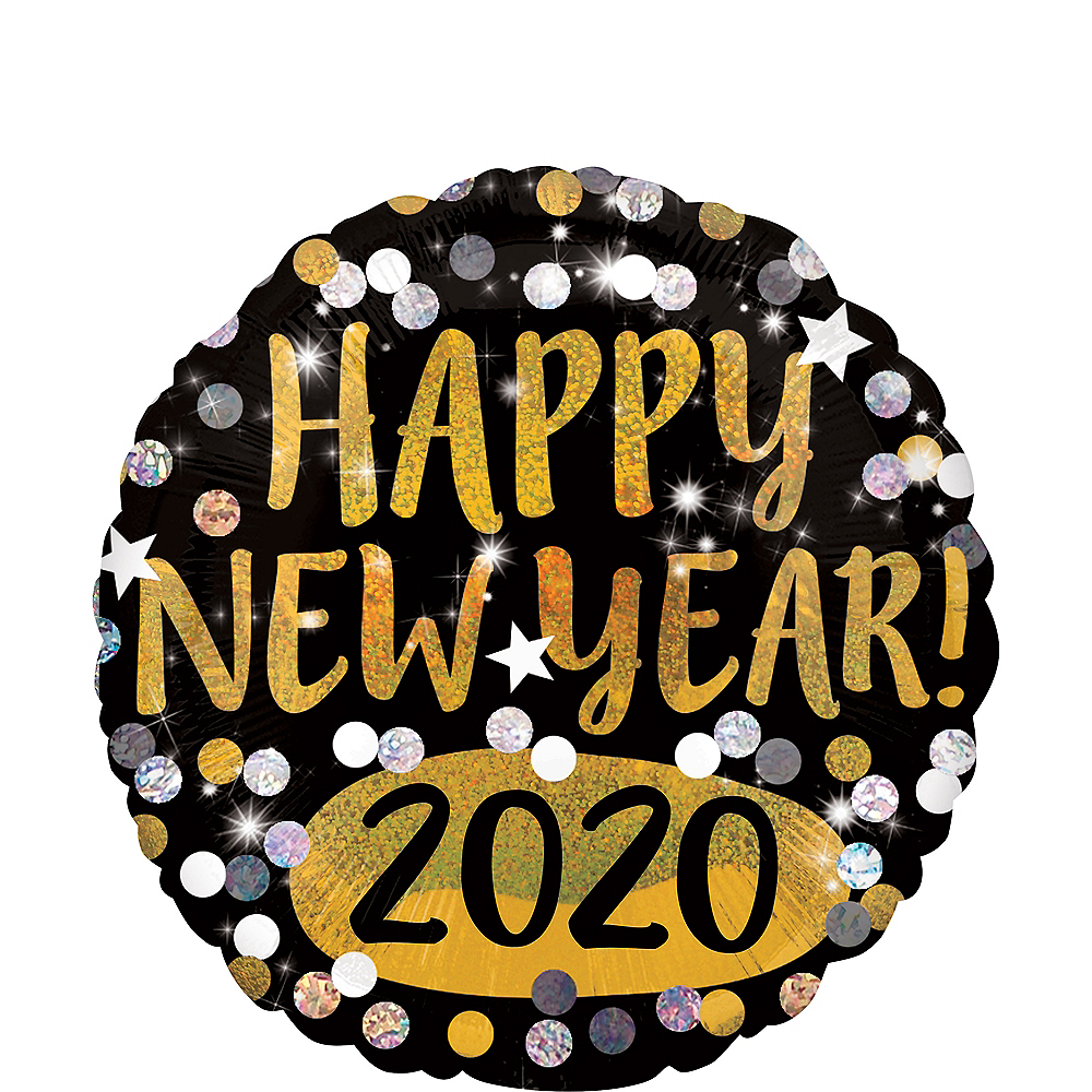 Prismatic Black, Gold & Silver Dots 2020 New Year's Eve Balloon Image #1