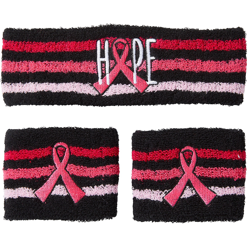 Adult Hope Ribbon Sweatband Set 3pc Image #1