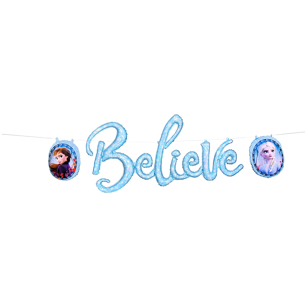 Air-Filled Believe Frozen 2 Balloon Banner 3pc Image #1