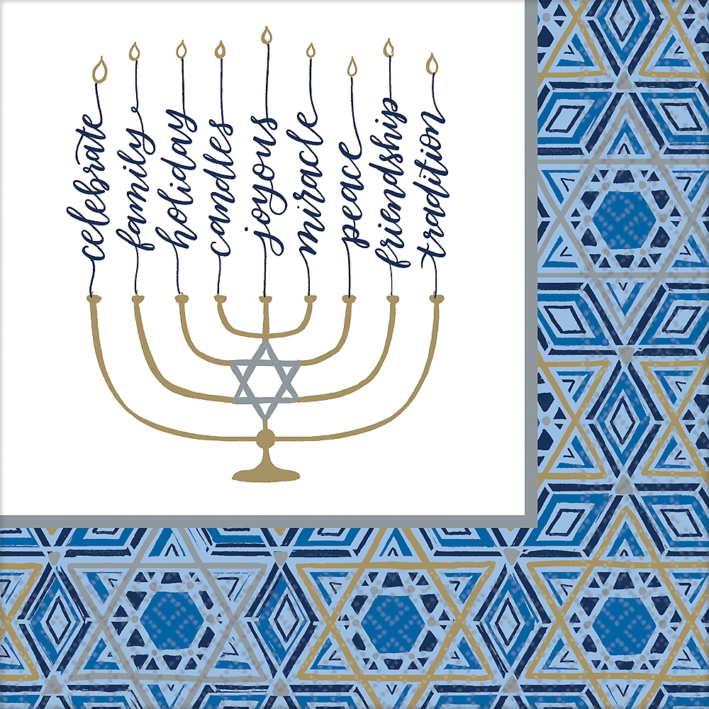 Nav Item for Festival of Lights Hanukkah Dinner Napkins 36ct Image #1