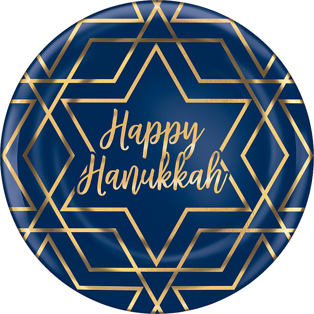 Metallic Hanukkah Celebration Premium Plastic Dinner Plates 10ct Image #1