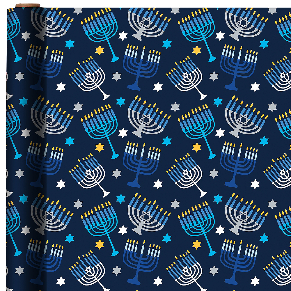 Nav Item for Hanukkah Menorah Gift Wrap Image #1