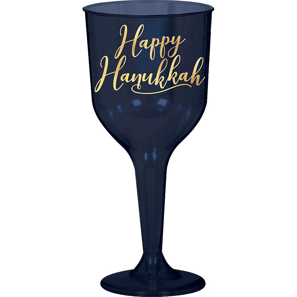 Blue Happy Hanukkah Plastic Wine Glasses 8ct Image #1
