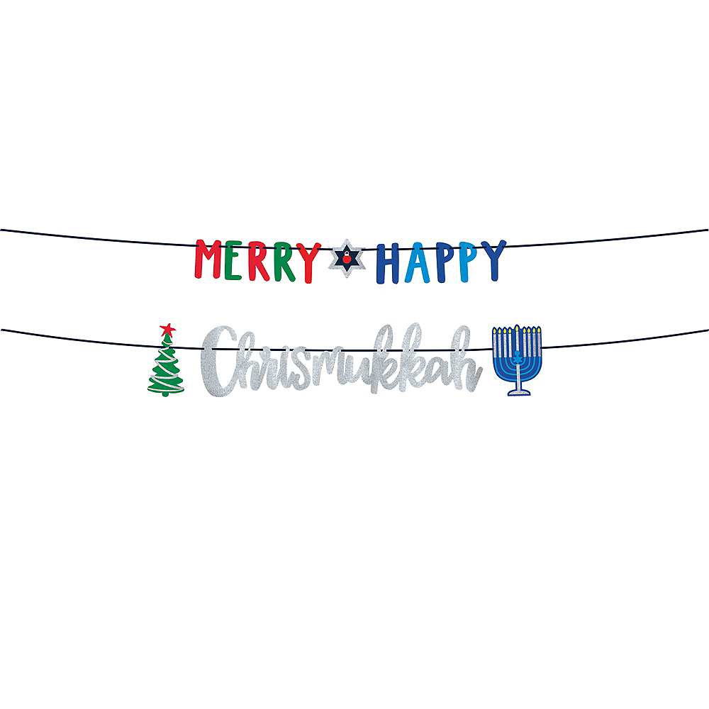 Merry Happy Chrismukkah Letter Banners 2ct Image #1