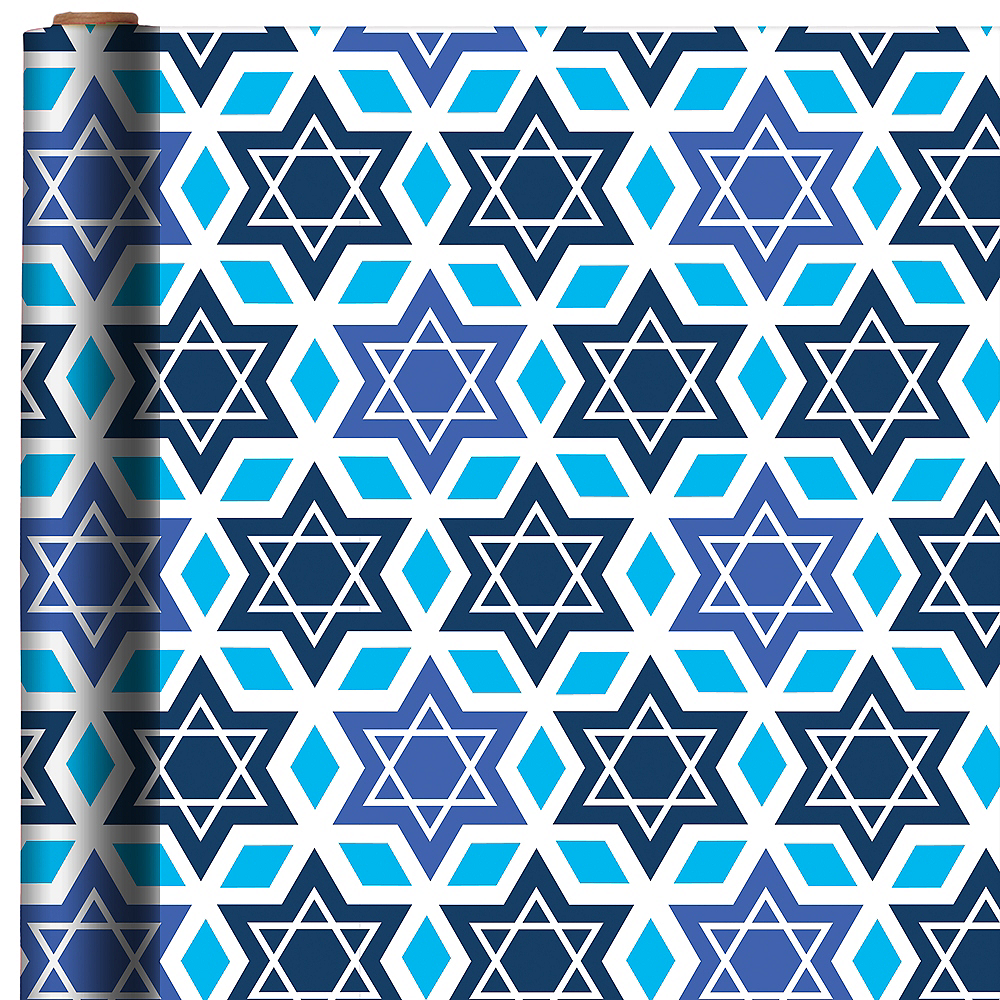 Star of David Hanukkah Gift Wrap Image #1