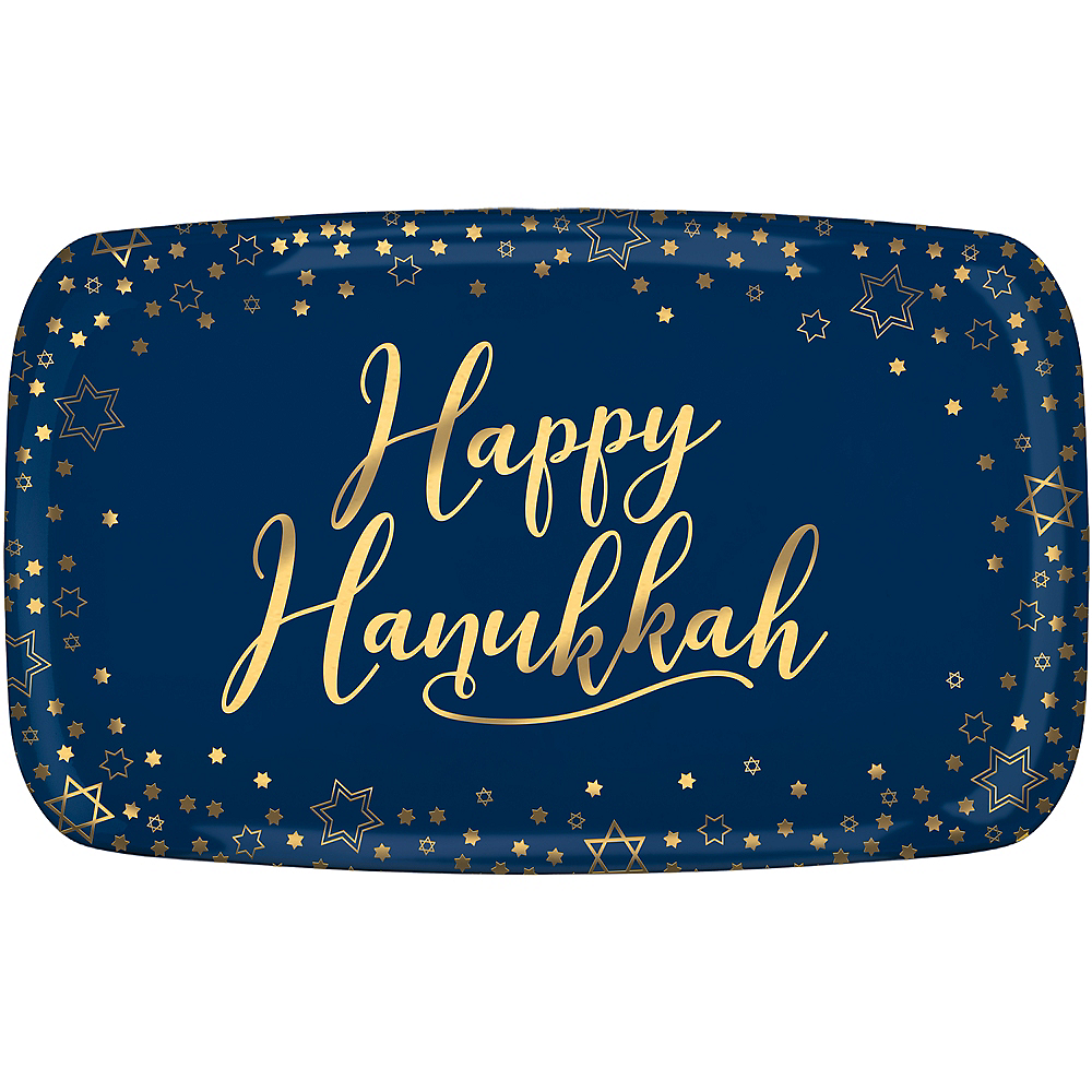 Nav Item for Happy Hanukkah Plastic Rectangular Platter Image #1