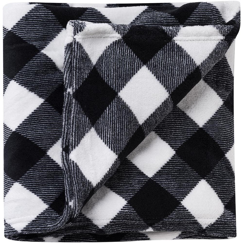 Black And White Plaid Blanket.Black White Buffalo Plaid Blanket
